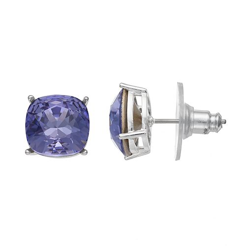 Brilliance Silver Plated Stud Earrings with Swarovski Crystals
