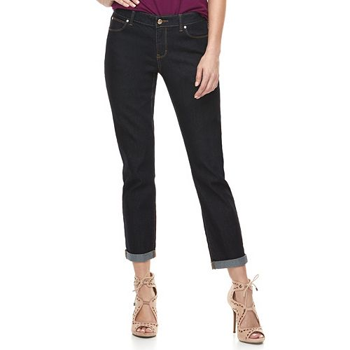 Women's Jennifer Lopez Cuffed Midrise Straight-Leg Ankle Jeans