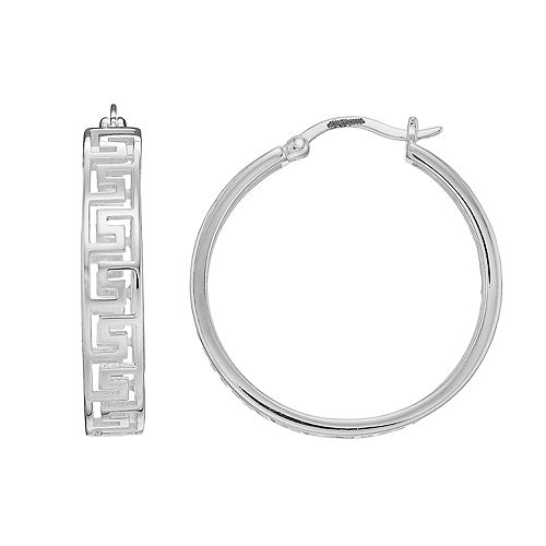 Silver Classics Sterling Silver Greek Key Hoop Earrings