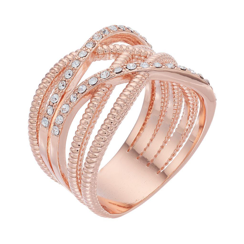 Brilliance Crisscross Ring with Swarovski Crystals
