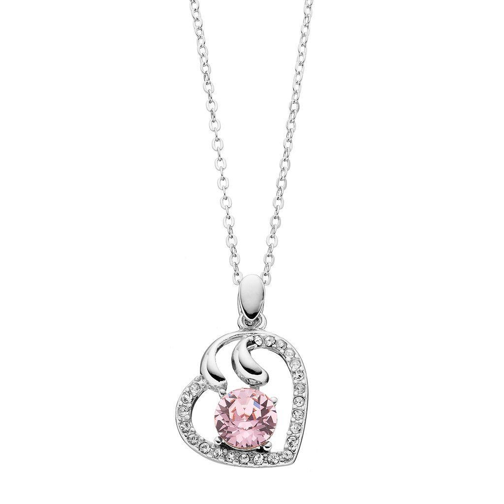 Brilliance Silver Tone Heart Pendant Necklace with Swarovski Crystals
