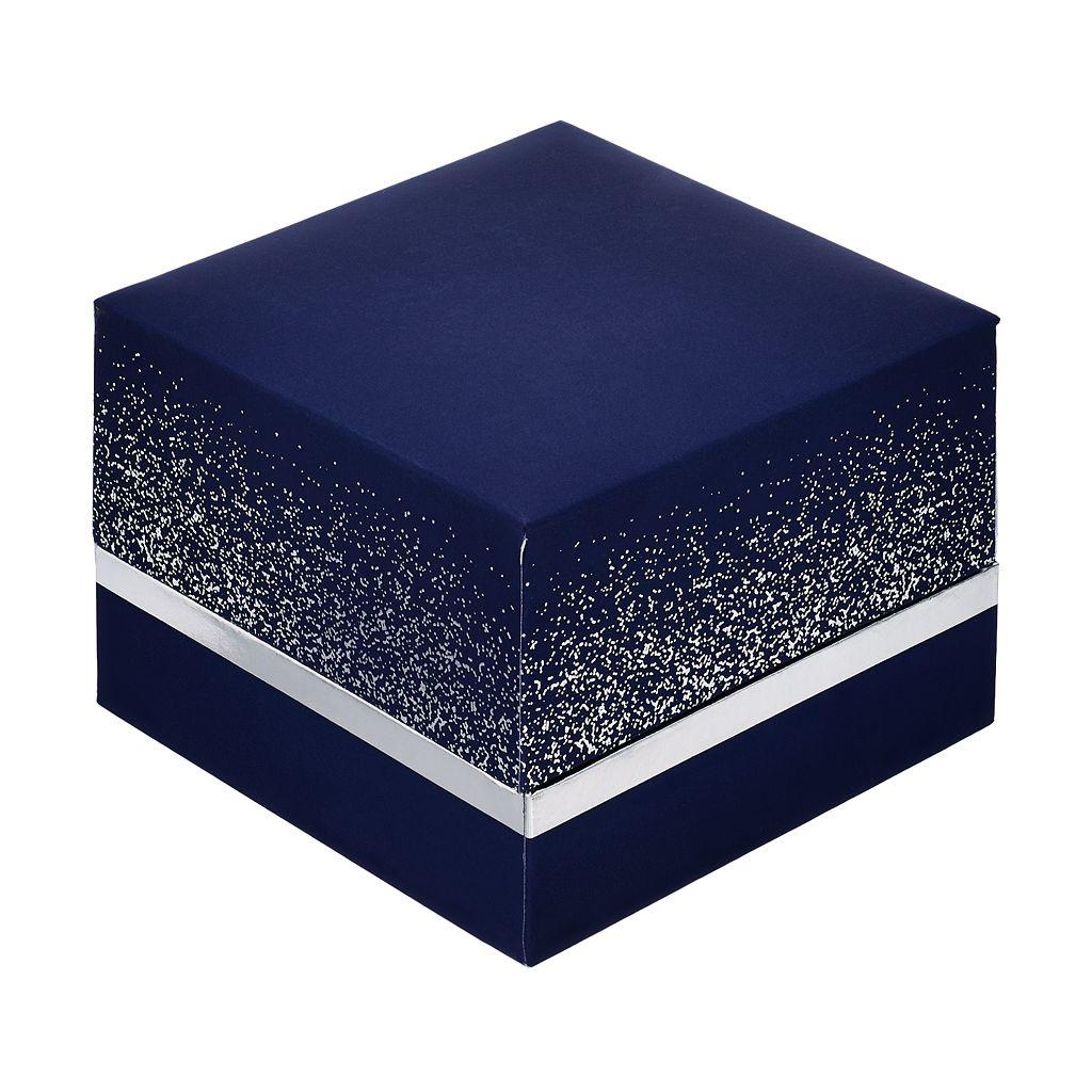 Brilliance Silver Tone Oval Halo Pendant Necklace with Swarovski Crystals