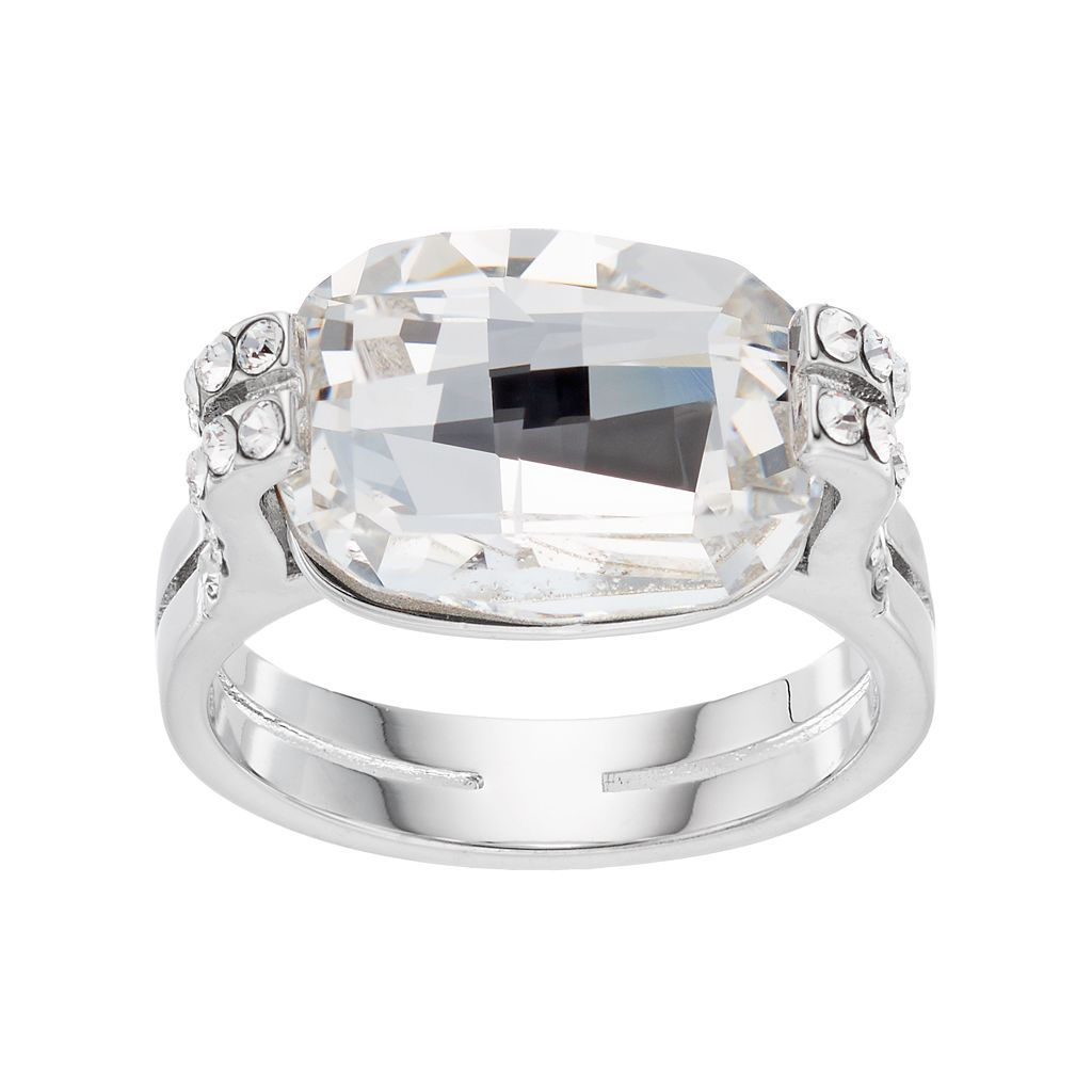 Brilliance Silver Plated Cushion Ring with Swarovski Crystals