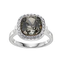 Brilliance Silver Plated Cushion Halo Ring with Swarovski Crystals