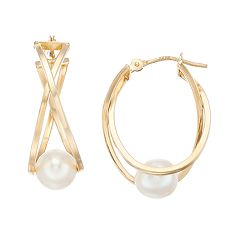 10k Gold Freshwater Cultured Pearl Crisscross Hoop Earrings