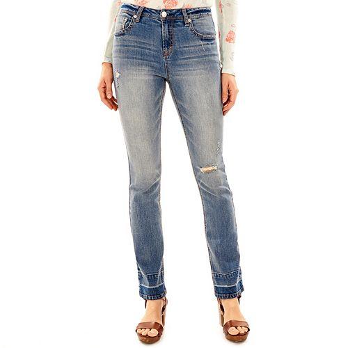 Juniors' Wallflower Release Hem Mini Bootcut Jeans