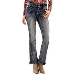 Juniors' Wallflower Luscious Curvy Embellished Bootcut Jeans
