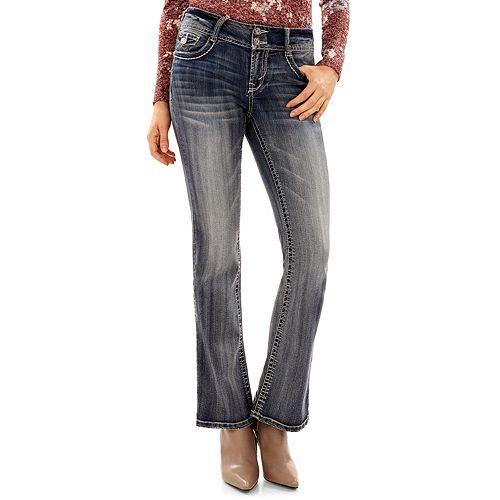 Juniors' Wallflower Luscious Curvy Embellished Bootcut Jeans