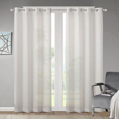 Madison Park 1-Panel Vera Geometric Burnout Sheer Window Curtain