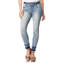 Juniors' Wallflower Faded Release Hem Ultra Skinny Jeans