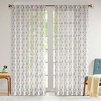 Madison Park Arbor Chainlink Embroidered Sheer Window Curtain