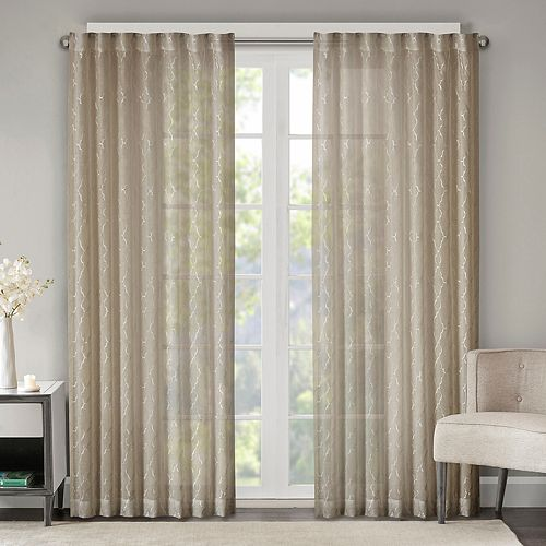 Madison Park 1-Panel Etelle Fret Embroidered Sheer Window Curtain
