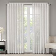 Madison Park Etelle Fret Embroidered Sheer Window Curtain