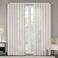 Madison Park Etelle Fret Embroidered Sheer Curtain