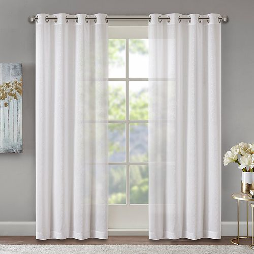 Madison Park Josette Foil Scallop Sheer Window Curtain