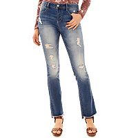 Juniors' Wallflower High Rise Destructed Bootcut Jeans