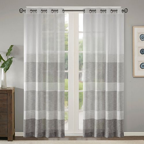 Madison Park Jasper Woven Striped Sheer Window Curtain