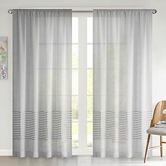 Urban Habitat 1-Panel Rae Dobby Stripe Sheer Window Curtain