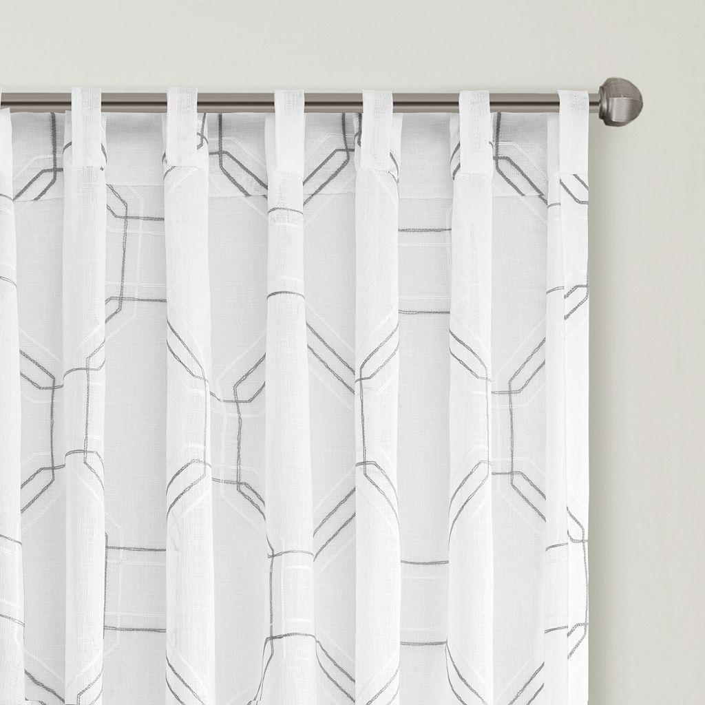 Urban Habitat Austin Embroidered Faux Linen Sheer Curtain