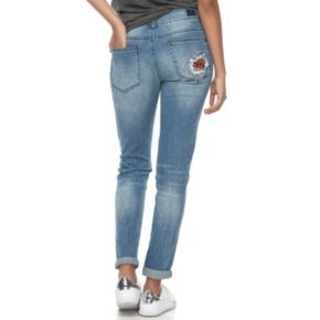 Juniors' Almost Famous Floral Ripped & Patched Jeans
