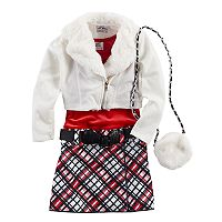 Girls 4-6x Knitworks Moto Jacket, Dress & Purse Set