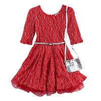 Girls 4-6x Knitworks Red Lace Dress & Purse Set