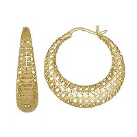 Everlasting Gold 10k Gold Mesh Hoop Earrings
