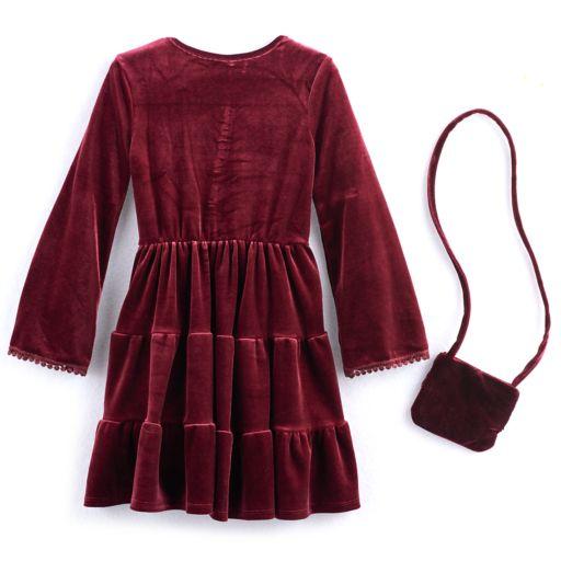Girls 4-6x Knitworks Tiered Velvet Dress