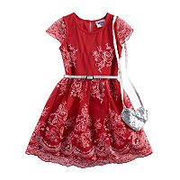 Girls 4-6x Knitworks Lace Skater Dress & Heart Purse Set