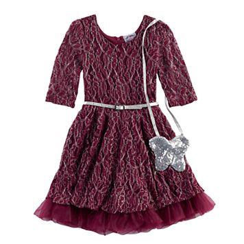 Girls 4-6x Knitworks Lace Dress & Purse Set