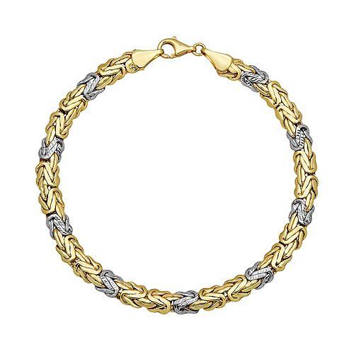 Everlasting Gold Two Tone 10k Gold Byzantine Chain Bracelet