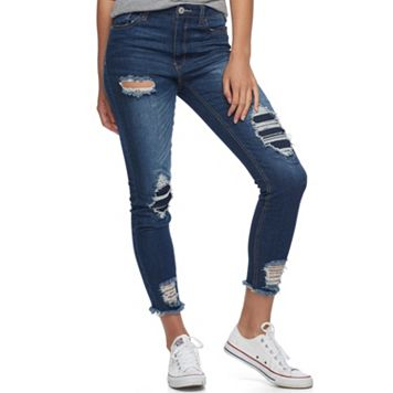 Juniors' Almost Famous Ripped & Repaired Skinny Jeans
