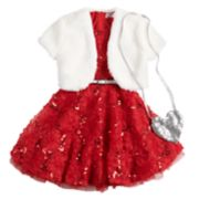 Girls 4-6x Knitworks Soutache Dress, Faux-Fur Shrug & Purse Set