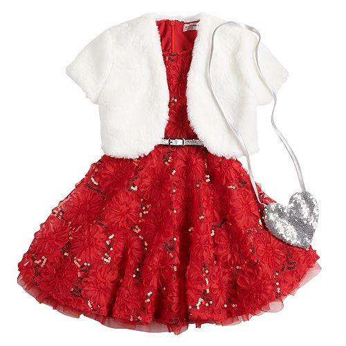 Girls 4-6x Knitworks Soutache Dress, Faux-Fur Shrug & Purse Set