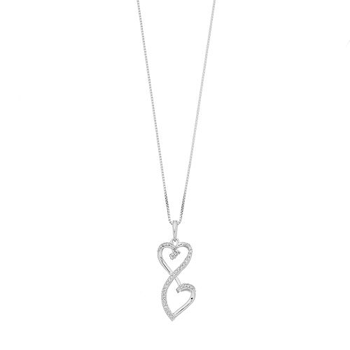 Love Is Forever 1/7 Carat T.W. Diamond Sterling Silver Double Heart Pendant Necklace