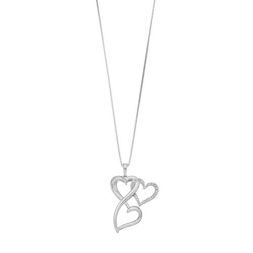 Love Is Forever 1/10 Carat T.W. Diamond Sterling Silver Triple Heart Pendant Necklace