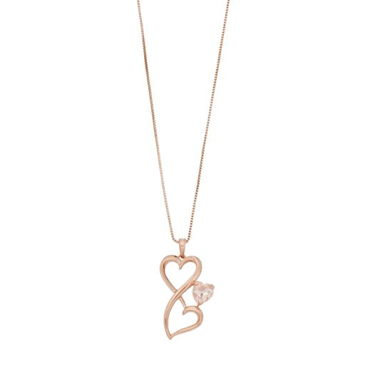 Love Is Forever Simulated Morganite Double Heart Pendant