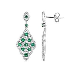 Lab-Created Green Spinel & Cubic Zirconia Sterling Silver Openwork Kite Drop Earrings