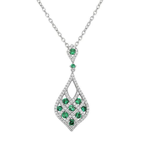 Lab-Created Green Spinel & Cubic Zirconia Sterling Silver Openwork Teardrop Pendant Necklace