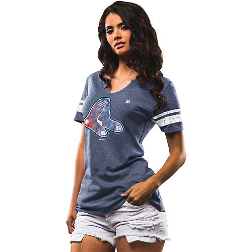 Women's Majestic Boston Red Sox Slugging Percentage Tee