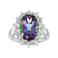 Sterling Silver Mystic Topaz & White Topaz Halo Ring