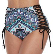 Mix and Match Mosaic Lace-Up High-Waisted Bikini Bottoms