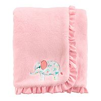 Baby Girl Carter's Embroidered Elephant Ruffled Blanket