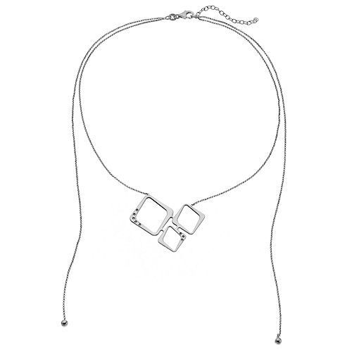 Sterling Silver Cubic Zirconia Square Double Strand Necklace