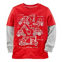 Toddler Boy Carter's Construction Trucks Mock Layer Tee