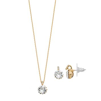 Brilliance Gold Tone Pendant & Stud Earring Set with Swarovski Crystals