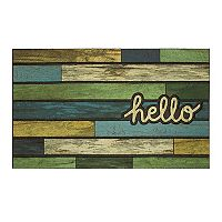 Mohawk Home® ''Hello'' Striped Woodgrain Rubber Doormat - 18'' x 30''