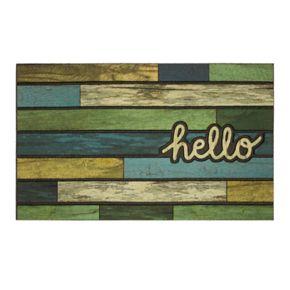 Mohawk Home® ''Hello'' Striped Woodgrain Rubber Doormat - 18'' x 30''