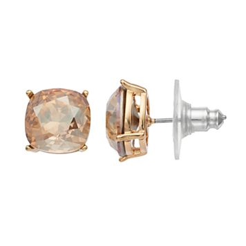 Brilliance Gold Tone Stud Earrings with Swarovski Crystals
