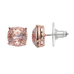 Brilliance Rose Gold Tone Stud Earrings with Swarovski Crystals